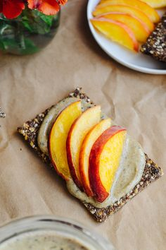 """Super Butter"" w/ Peach Slices on Spiced Maple Flax Toasts 