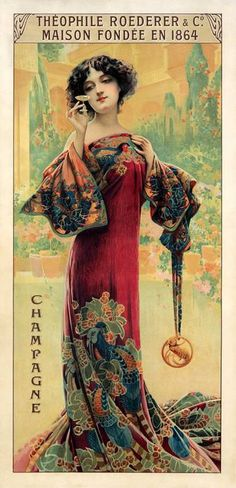 This image was created for the Theophile Roederer & Company to promote its label of Champagne. As evident in the text around the poster, the company was founded in 1864 and still produces fine champagne to this day. The poster shows an elegant lady dressed in high fashion gently enjoying the delicate drink in a petite glass. The artist Gaspac Camps (1874 -1942) was of Spanish origin but spent most of his career in France. Camps was a painter, draftsman, illustrator and poster designer who…