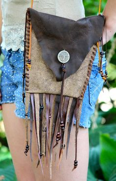 Fringe Purse Belt Pouch Hand Stitched Leather Pouch by jhammerberg