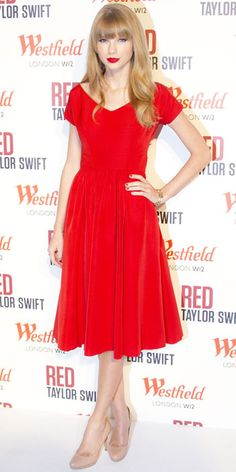 11/07/12: No wonder she named her album Red, #TaylorSwift looks stunning in the vibrant hue! #lookoftheday http://www.instyle.com/instyle/lookoftheday/0,,,00.html#