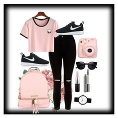 """""""☺❤"""" by jordangirl117 ❤ liked on Polyvore featuring New Look, NIKE, MICHAEL Michael Kors, Fujifilm and MAC Cosmetics"""