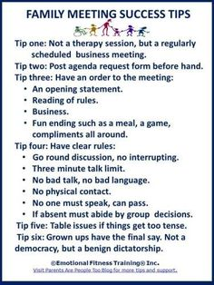 Tips on family meetings - going to have to be more Fun going on for the D's