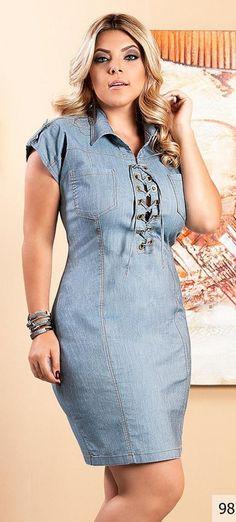 Vestido Jeans com Ilhós. Lindo vestido da Manifesto Jeans.