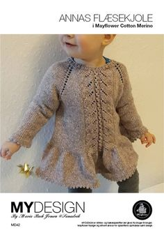 Annas flæsekjole The Effective Pictures We Offer You About Knitting instructions A quality picture can tell you many things. You can find the most beautiful. Kids Knitting Patterns, Knitting Blogs, Knitting For Kids, Knitting Designs, Baby Patterns, Girls Knitted Dress, Knit Baby Dress, Knitted Baby Clothes, Baby Cardigan