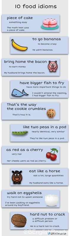 10 food idioms. Check out www.benglishready.com for more!