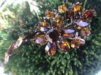 Vintage Flower Rhinestone Rhinestones Brooch Topaz Gold Tone Pin Large Glass Vtg