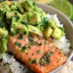 ⠀ Beautiful honey, lime, and cilantro flavors come together is this tasty salmon rice bowl. Slightly sweet cilantro lime rice topped with juicy salmon roasted in honey, lime, cilantro glaze and fresh cilantro avocado. Seafood Recipes, Chicken Recipes, Cooking Recipes, Healthy Recipes, Healthy Eats, Baked Salmon Recipes, Meal Recipes, Avocado Recipes, Rice Recipes