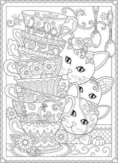 Download Cats And Tea Cups Coloring Page