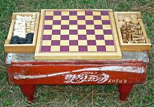 Up-cycled COCA-COLA Chess / Checkers Board Game  Vintage COKE Crate & Bottles (B