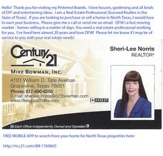 My name is Sheri-Lee and I am a Real Estate Professional (Realtor) in the Dallas-Fort Worth metroplex. If I may be of service to you, here is my contact information.  DFW is an exciting place to live, but we are one of the hottest (fastest moving) markets in the country.  You need somebody to help you on a personal level -- so after you have searched those national internet companies - or even before -- please give me a call and we will get you on the fast track to home ownership!