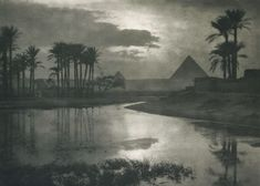 les-sources-du-nil:  Ernest R. Ashton (1867-1951)  Evening Near Pyramids, 1897