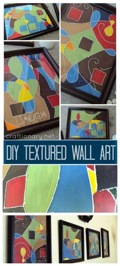 Wall art for living room (DIY thread painting tutorial). Make acrylic paintings with thread and glue. Craft and handmade wall decor project idea for home Thread Painting, Diy Painting, Thread Art, Mosaic Projects, Easy Projects, Texture Art Projects, Butterfly Feeder, Butterfly Food, Homemade Paint