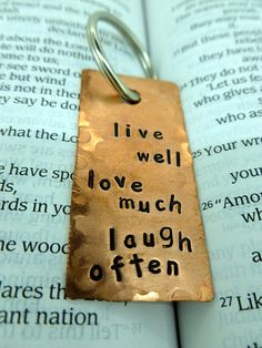 Hand Stamped and Textured Copper Keychain  by SnappinStudio, $16.00