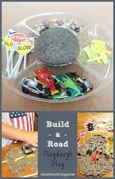 Kitchen Floor Crafts: Build-A-Road Playdough Play