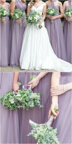 Lavender ladies, lilac bridesmaids, long dress, chic organza maids // Love Behind the Lens Photography Dusty Purple Dress, Sage Green Dress, Daisy Wedding, Wedding Flowers, Dream Wedding, Sage Green Wedding, Purple Wedding, Lavender Bridesmaid Dresses, Bridesmaids
