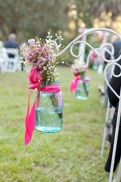 Mason jars and flowers.
