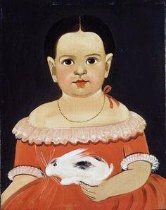 Little Girl with Pet Rabbit c 1845 by Sturtevant J Hamblin (1817-1884) Portland,Maine