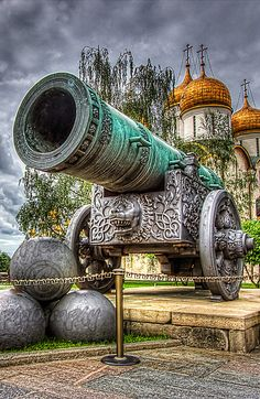 The Tsar Cannon on display in the Moscow Kremlin, Russia. Was created in the 16th century for Tsar Feodor, the son of Ivan IV The Terrible. Its length is 5,3 m. Interesting this cannon was created to defend The Kremlin but was never used in battles and never gave any shot ~