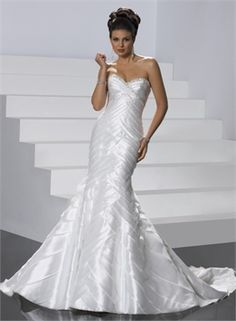 Sweetheart Neckline Highlight The Curve Glamour Satin Mermaid Wedding Dress WD1983 www.tidebridaldresses.com $258.0000