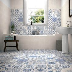 **Using same tiles on floor on walls - Calke Blue Bathroom Wall Tiles supplied by Tile Town. Discounted Moresque Effect Bathroom Wall Tiles Bathroom Floor Tiles, Wall And Floor Tiles, Kitchen Tiles, Kitchen Flooring, Bathroom Shelves, Bathroom Vanities, Bathroom Tubs, Morrocan Tiles Bathroom, Bathroom Ideas