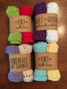 Handmade dishcloths made by me with the lovely labels from http://www.everythingetsy.com/2015/04/free-printable-knit-gift-labels/