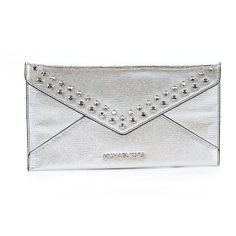 MICHAEL Michael Kors Leather Clutch (3.920 RUB) ❤ liked on Polyvore featuring bags, handbags, clutches, grey, michael michael kors handbags, grey handbags, leather hand bags, real leather purses and genuine leather handbags
