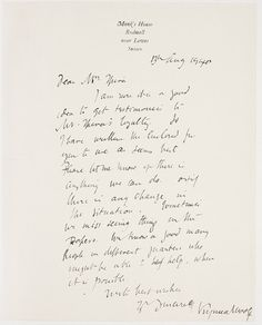 Virginia Woolf's letter to Robert Spira, 27 February 1939