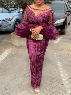 Material: Polyester Silhouette: Bodycon Dress Length: Floor-Length Sleeve Length: Nine Points Sleeve Sleeve Type: Flare. African Lace Styles, African Lace Dresses, Latest African Fashion Dresses, African Print Fashion, African Blouses, Ankara Styles, Latest Fashion, Women's Fashion, Fashion Outfits