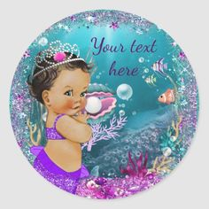 Shop Adorable Little Mermaid Baby Shower Stickers created by The_Baby_Boutique. Personalize it with photos & text or purchase as is! Navy Baby Showers, Mermaid Baby Showers, Little Mermaid Baby, Cute Mermaid, Baby Shower Party Supplies, Baby Shower Parties, Under The Sea Background, Mermaid Gifts, Baby Shower Thank You