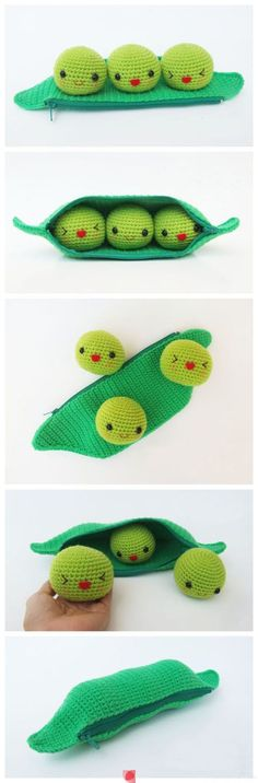 No instructions but super cute and looks fairly simple to make. You could make the peas as juggling balls as a gift for a child.