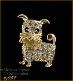 Eisenberg Ice Adorable Gold-Tone with Clear Rhinestones Doggie Pin  (Inventory #J958)
