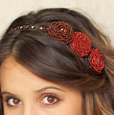 Hand Beaded Flower Headband in Chestnut Red with by QueEncantadora https://www.etsy.com/listing/117265859/hand-beaded-flower-headband-in-deep-red?ref=listing-shop-header-3