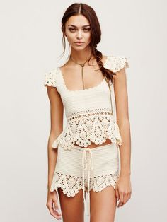 Crochet Babe Shorts | Cotton crochet shorts featuring a contrast crochet hem with scalloped trim. Drawstring waistband.
