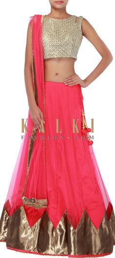 Buy Online from the link below. We ship worldwide (Free Shipping over US$100) http://www.kalkifashion.com/pink-lehenga-adorn-in-applique-embroidery-only-on-kalki.html