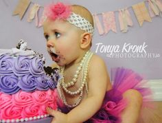 Girl cake smash. Pink and purple, rosette ombre cake.  Pearls. Tonya Kronk photography