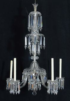 19th Century Victorian Crystal Chandelier, Probably Sandwich Glass, with Original Gas Valves.