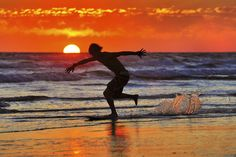 Tonight in Oceanside- Skimboarder at Sunset