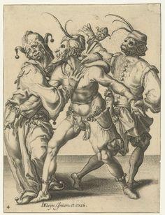 Drie dansende mannen, Jacob de Gheyn (II), 1595 - 1596