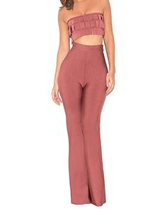 UONBOX Womens Strapless Tube Top and Bodycon Flare Trousers 2 Pcs Night Party Set Brownish Red S  -One Stop Apparel For Women * Continue to the product at the image link.