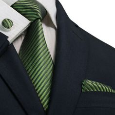 Men's green and black fashion silk necktie set with matching handkerchief and cufflinks. Check out our selection and prices.