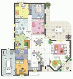 Maison Familiale 4 Chambres Avec Bureau, Terrasse, Garage Et Cellier Plan  De Maison Moderne