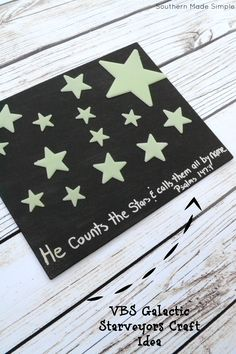Easy Galactic Starveyors Craft Idea - Painted Canvas with Glow in the Dark stars and scripture. Easy peasy and fun to make!