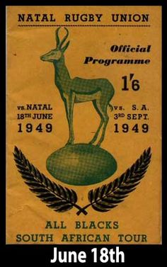 history today in 1949 : Natal New Zealand ✈ All Blacks win in Durban on 1949 South Africa tour Rugby Sport, Rugby Club, Six Nations, Rugby Nations, Rugby Poster, South Africa Tours, Black Beats, Poster, Sports