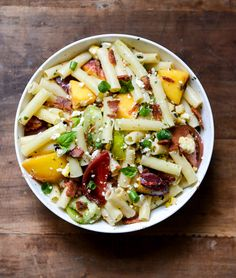 smoky heirloom tomato and grilled peach pasta salad with basil vinaigrette