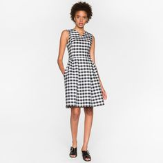 Paul Smith Women's Navy And White Gingham Dress ($295) ❤ liked on Polyvore featuring dresses, navy and white, strappy dress, strap dress, navy and white dress, v-neck dresses and woven dress