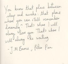 """This pisses me off to no end. This quote was not written by J.M. Barrie. It was not said by Peter Pan. It is not in the play or musical versions of """"Peter Pan"""".  Tinkerbell says this TO Peter Pan in the 1991 movie, Hook. Peter Pan never once said he loved anyone.  Everyone loves him. People really need to get their facts straight."""