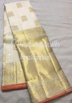 #Bridal #kanjivarams,from #Thirukumaransilks,can reach us at +919842322992/WhatsApp or at thirukumaransilk@gmail.com for more collections and details South Silk Sarees, South Indian Sarees, Pure Silk Sarees, Kanjipuram Saree, Golden Saree, Blouse Designs Catalogue, Traditional Silk Saree, Wedding Silk Saree, White Saree