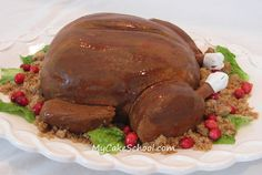In this cake video tutorial, you will learn how to make a realistic roasted turkey cake! It's a hilarious addition to any Thanksgiving feast! Turkey Cake, Turkey Dessert, Cake Videos, Thanksgiving Feast, Roasted Turkey, Food Crafts, Cute Cakes, Something Sweet, Cake Creations