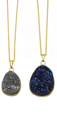 Gorgeous druzy drop necklaces