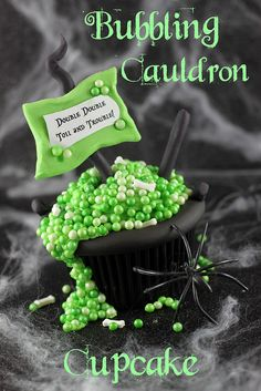 Halloween party food / treats:   Bubbling Cauldron Cupcake